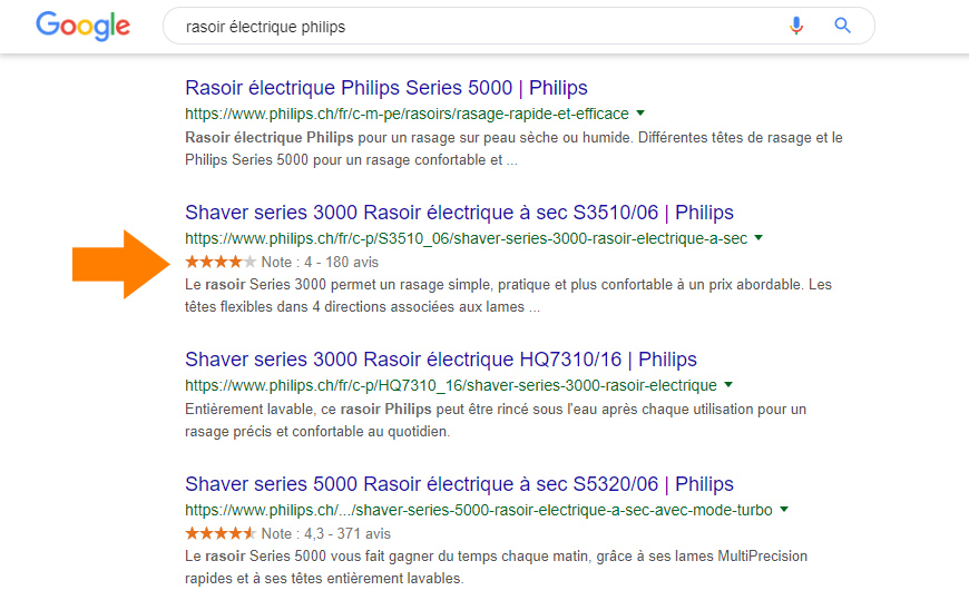 Avis produit dans Google