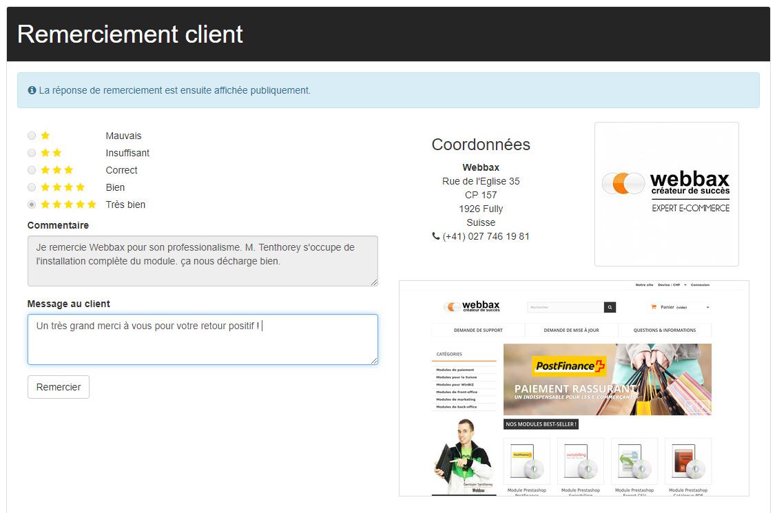 Message avis client