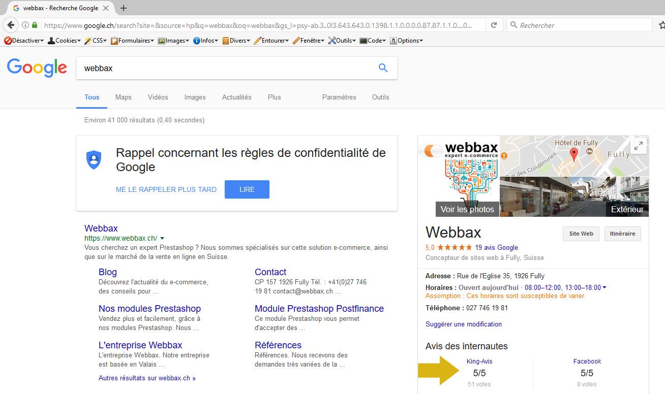 Notation King-Avis dans Google sur votre établissement