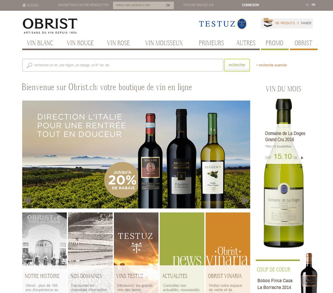 Site e-commerce de vins en Suisse