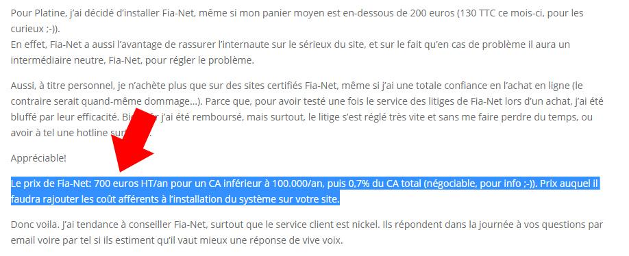 Tarifs FIA-NET par Blog-Ecommerce