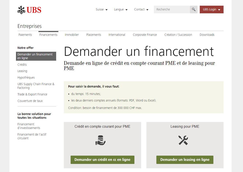 Financement banque suisse