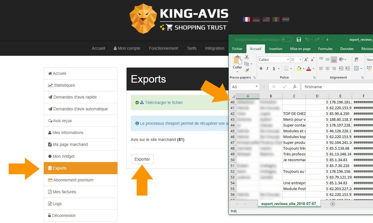 Exportation avis clients CSV