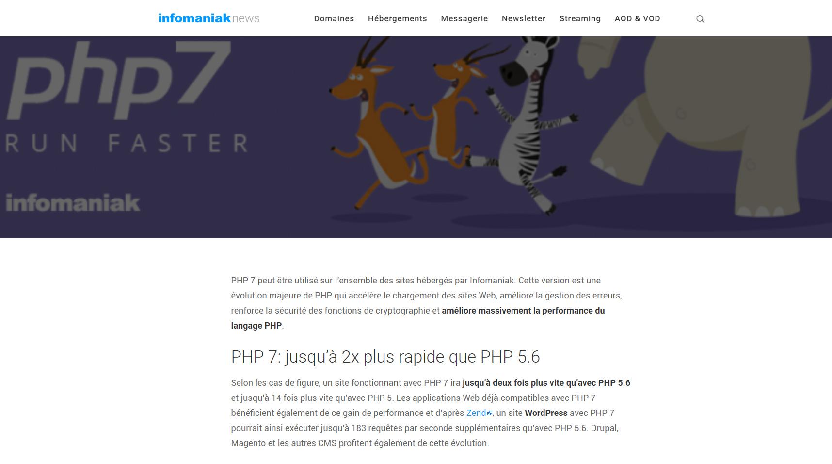 PHP7 Migration Infomaniak