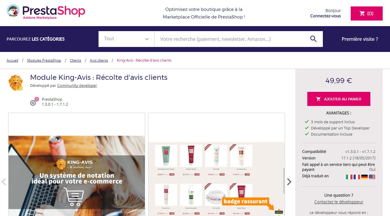 Module Avis Clients Prestashop Addons
