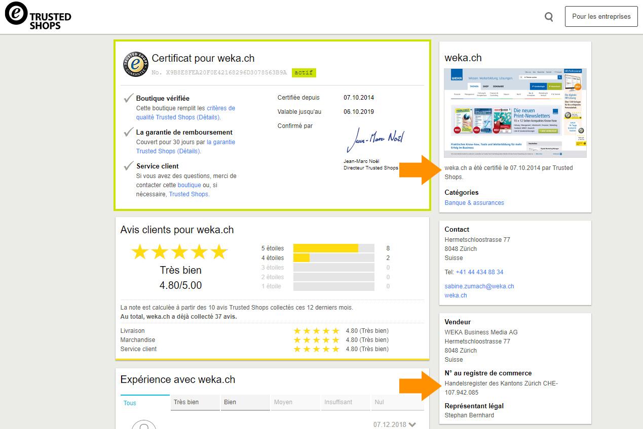 Avis clients certifiés