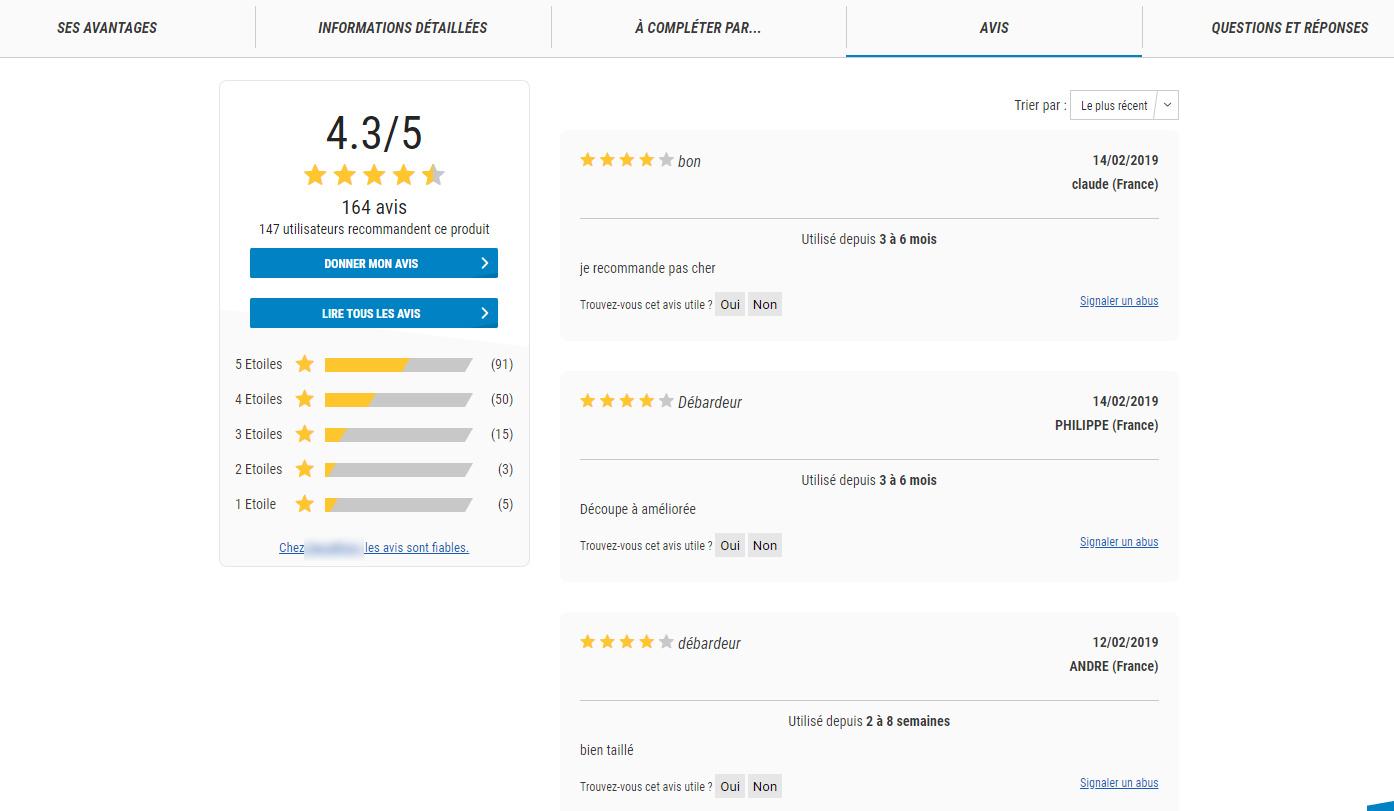 Ecommerce liste avis clients