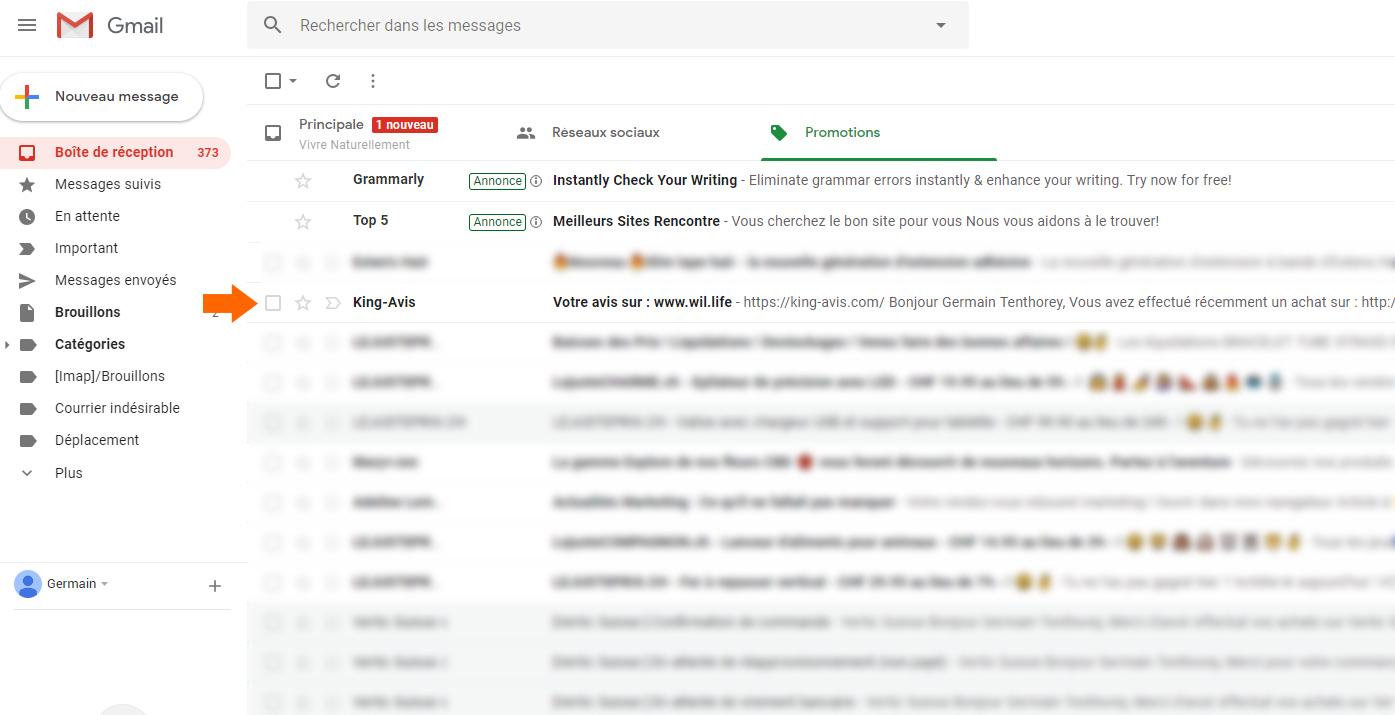 Mail avis client