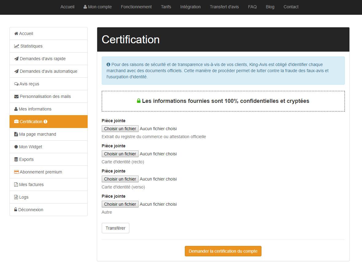 Certifier compte e-commerçant