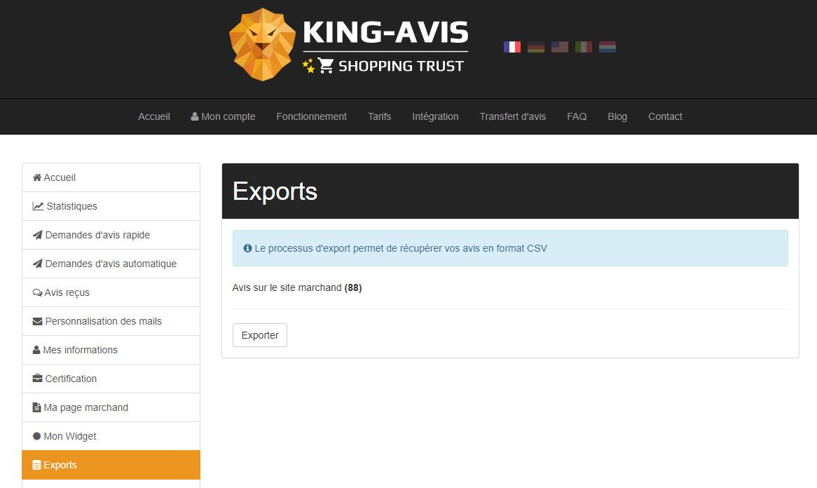 Export des avis clients