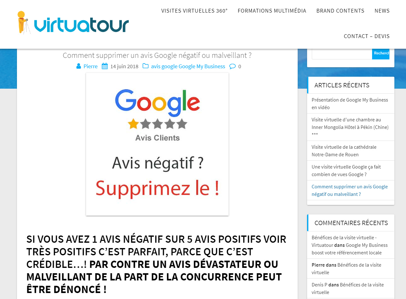 Denoncer avis client Google