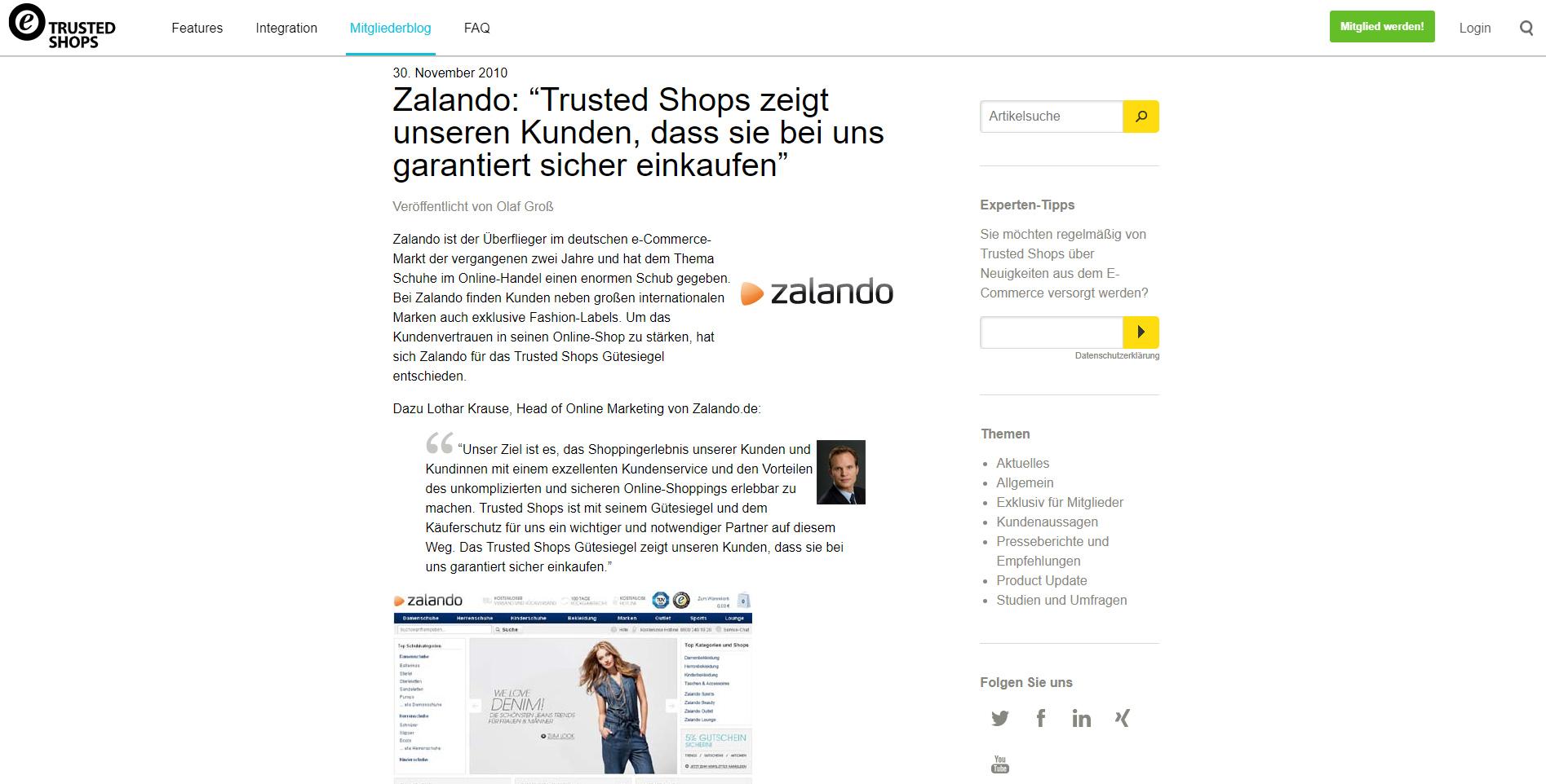 Zalando Trusted Shops