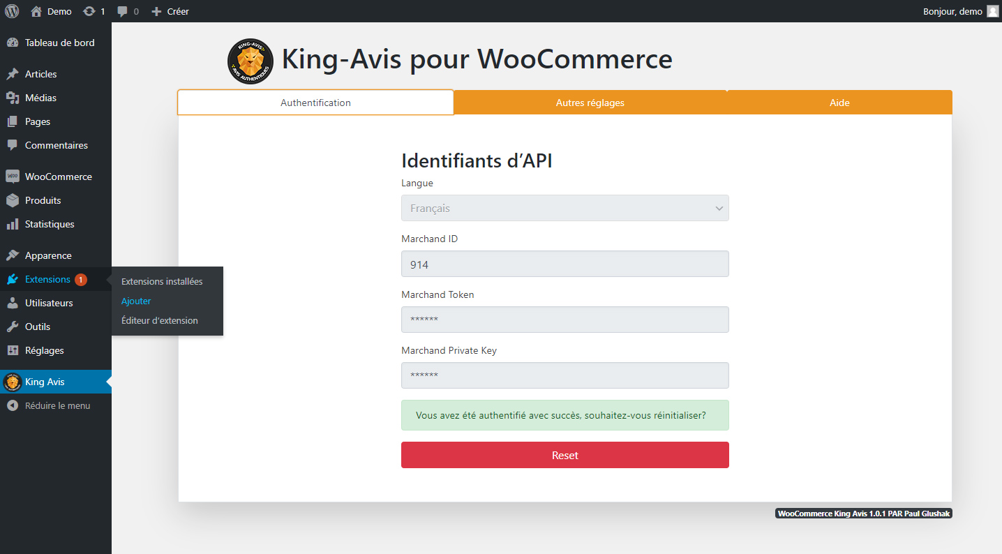 Plugin WooCommerce King-Avis